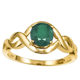 1.15 CT EMERALD 10KT SOLID YELLOW GOLD RING