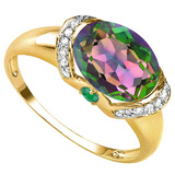 2.26 CT GREEN MYSTICS QUARTZ 0.1 CT EMERALD AND ACCENT DIAMOND 0.09 CT 10KT SOLID YELLOW GOLD RING