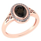 Certified 1.39 Ctw Smoky Quarzt And Diamond 14k Rose Gold Halo Ring G-H VS/SI1