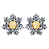Certified 1.86 Ctw Citrine And Diamond Platinum Halo Stud Earrings