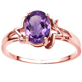1.10 CT AMETHYST AND ACCENT DIAMOND 0.01 CT 10KT SOLID RED GOLD RING