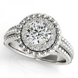 CERTIFIED PLATINUM 1.04 CTW G-H/VS-SI1 DIAMOND HALO ENGAGEMENT RING