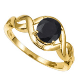 1.33 CT BLACK SAPPHIRE 10KT SOLID YELLOW GOLD RING