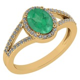 Certified 1.52 Ctw Emerald And Diamond 14k Yellow Gold Halo Ring G-H VS/SI1