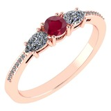 Certified 0.77 Ctw Ruby And Diamond 18K Rose Gold Halo Ring G-H VSSI1