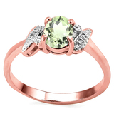 0.68 CT GREEN AMETHYST AND ACCENT DIAMOND 0.03 CT 10KT SOLID RED GOLD RING