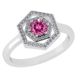 Certified 0.69 Ctw Pink Tourmaline And Diamond Platinum Halo Ring