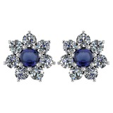 Certified 1.86 Ctw Blue Sapphire And Diamond Platinum Halo Stud Earrings