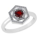 Certified 0.69 Ctw Garnet And Diamond Platinum Halo Ring