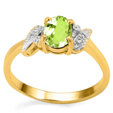 0.71 CT PERIDOT AND ACCENT DIAMOND 0.03 CT 10KT SOLID YELLOW GOLD RING