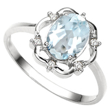 0.82 CT AQUAMARINE AND ACCENT DIAMOND 0.02 CT 10KT SOLID WHITE GOLD RING