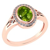 Certified 1.39 Ctw Peridot And Diamond 14k Rose Gold Halo Ring G-H VS/SI1