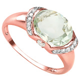 2.1 CT GREEN AMETHYST 0.07 CT WHITE TOPAZ AND ACCENT DIAMOND 0.09 CT 10KT SOLID RED GOLD RING