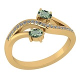 Certified 0.53 Ctw Green Amethyst And Diamond 14k Yellow Gold Halo Ring G-H VS/SI1