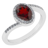Certified 1.44 Ctw Garnet And Diamond 14k White Gold Halo Ring G-H VS/SI1