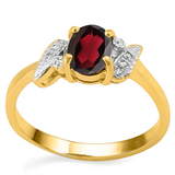 0.75 CT REDISH GARNET AND ACCENT DIAMOND 0.03 CT 10KT SOLID YELLOW GOLD RING