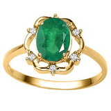 1.17 CT EMERALD AND ACCENT DIAMOND 0.02 CT 10KT SOLID YELLOW GOLD RING
