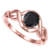 1.33 CT BLACK SAPPHIRE 10KT SOLID RED GOLD RING