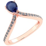 Certified 0.97 Ctw Blue Sapphire And Diamond 14k Rose Gold Halo Ring G-H VS/SI1