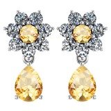 Certified 4.86 Ctw Citrine And Diamond 18K White Gold Halo Dangling Earrings