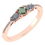 Certified 0.77 Ctw Green Amethyst And Diamond 18K Rose Gold Halo Ring G-H VSSI1