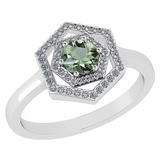 Certified 0.69 Ctw Green Amethyst And Diamond 18K White Gold Halo Ring G-H VSSI1