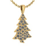 Certified 0.89 Ctw Diamond VS/SI1 Christmas tree Necklace 18K Yellow Gold Made In USA