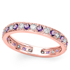CERTIFIED 0.42 CT AMETHYST AND 0.6 CT CZ 14KT SOLID RED GOLD RING
