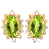 0.98 CT PERIDOT AND ACCENT DIAMOND 10KT SOLID YELLOW GOLD EARRING
