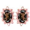 0.98 CT SMOKEY AND ACCENT DIAMOND 10KT SOLID ROSE GOLD EARRING