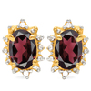 1.13 CT RHODALITE AND ACCENT DIAMOND 10KT SOLID YELLOW GOLD EARRING