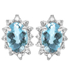 1.08 CT SKY BLUE TOPAZ AND ACCENT DIAMOND 10KT SOLID WHITE GOLD EARRING
