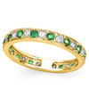 CERTIFIED 0.4 CT EMERALD AND 0.6 CT CZ 14KT SOLID YELLOW GOLD RING