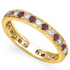 CERTIFIED 0.38 CT RUBY AND 0.6 CT CZ 14KT SOLID YELLOW GOLD RING
