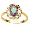 0.96 CT RAINBOW MYSTIC QUARTZ AND ACCENT DIAMOND 0.02 CT 10KT SOLID YELLOW GOLD RING