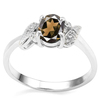 0.7 CT SMOKEY AND ACCENT DIAMOND 0.03 CT 10KT SOLID WHITE GOLD RING