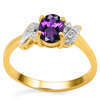 0.71 CT AMETHYST AND ACCENT DIAMOND 0.03 CT 10KT SOLID YELLOW GOLD RING