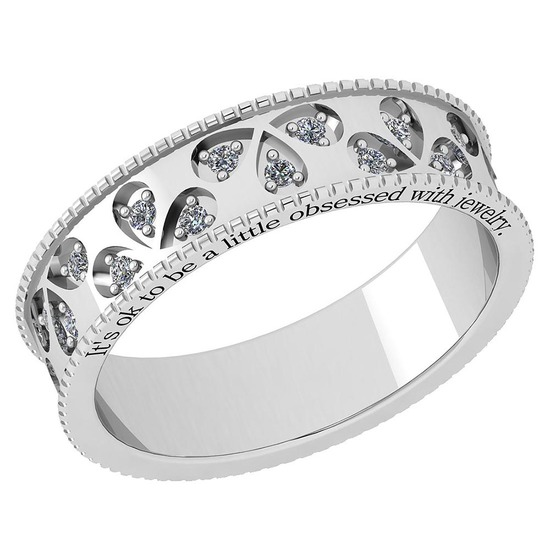 Certified 0.24 Ctw Diamond VS/SI1 14K White Gold Band Ring Made In USA