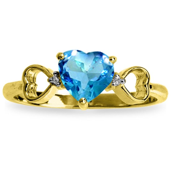 0.96 Carat 14K Solid Gold Light Of Mine Blue Topaz Diamond Ring