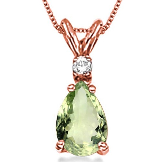 0.64 CARAT GREEN AMETHYST & 0.01 CTW DIAMOND 14KT SOLID RED GOLD PENDANT