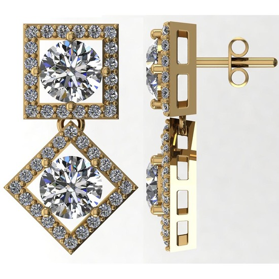 Certified 2.70 CTW Round Diamond 14K Yellow Gold Earring