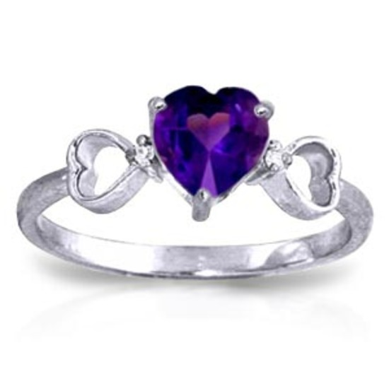 0.96 Carat 14K Solid White Gold Same Old Song Amethyst Diamond Ring