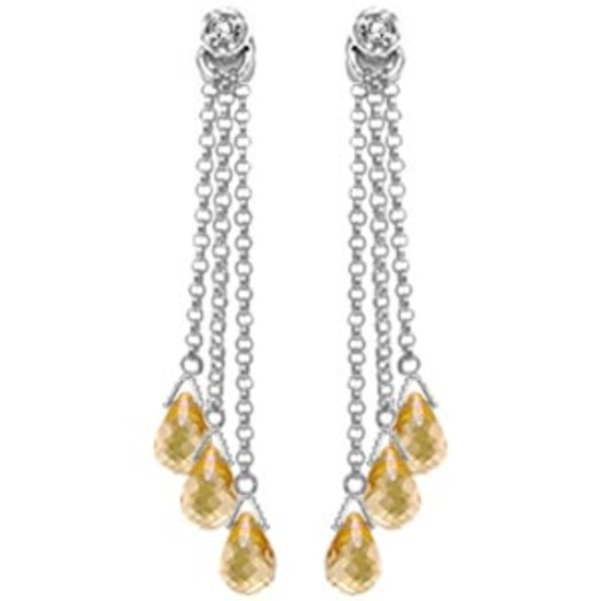 14K Solid White Gold Chandelier Earrings withDiamonds & Citrines