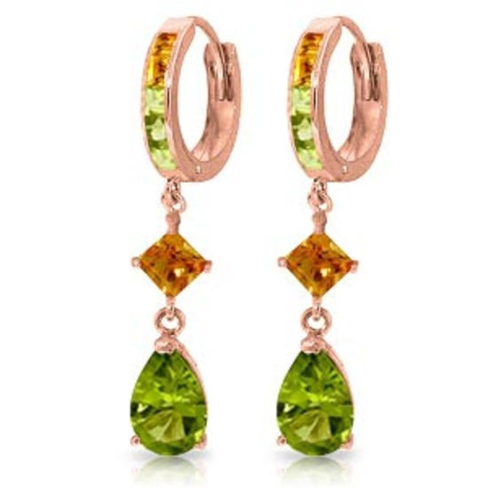 5.15 Carat 14K Solid Rose Gold Huggie Earrings Dangling Peridot Citrine