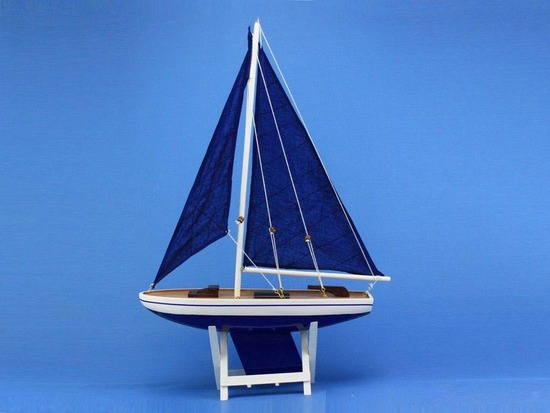 Wooden It Floats 21in. - Blue Floating Sailboat Model with Blue Sails