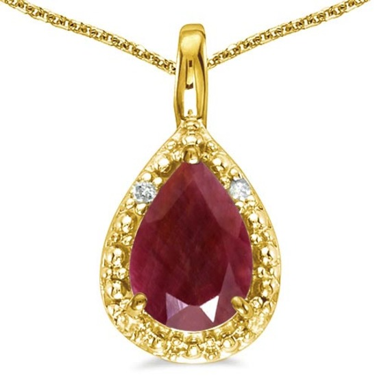 0.55 CARAT RUBY & 0.01 CTW DIAMOND 14KT SOLID YELLOW GOLD PENDANT