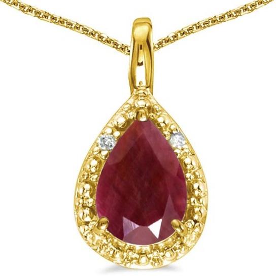 0.55 CARAT RUBY & 0.01 CTW DIAMOND 14KT SOLID YELLOW GOLD PENDANT