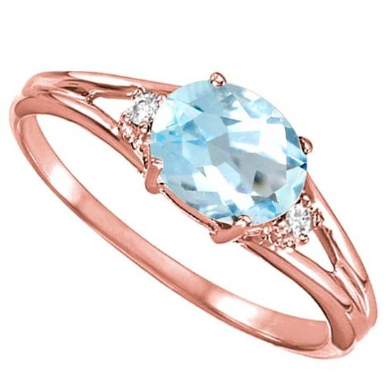 0.48 CARAT SKY BLUE TOPAZ & 0.02 CTW DIAMOND 10KT SOLID RED GOLD RING