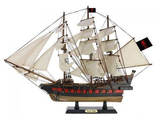 Wooden Ed Lows Rose Pink White Sails Limited Model Pirate Ship 26in.