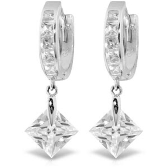 14K Solid White Gold Dangling Cubic Zirconia Hoop Earrings